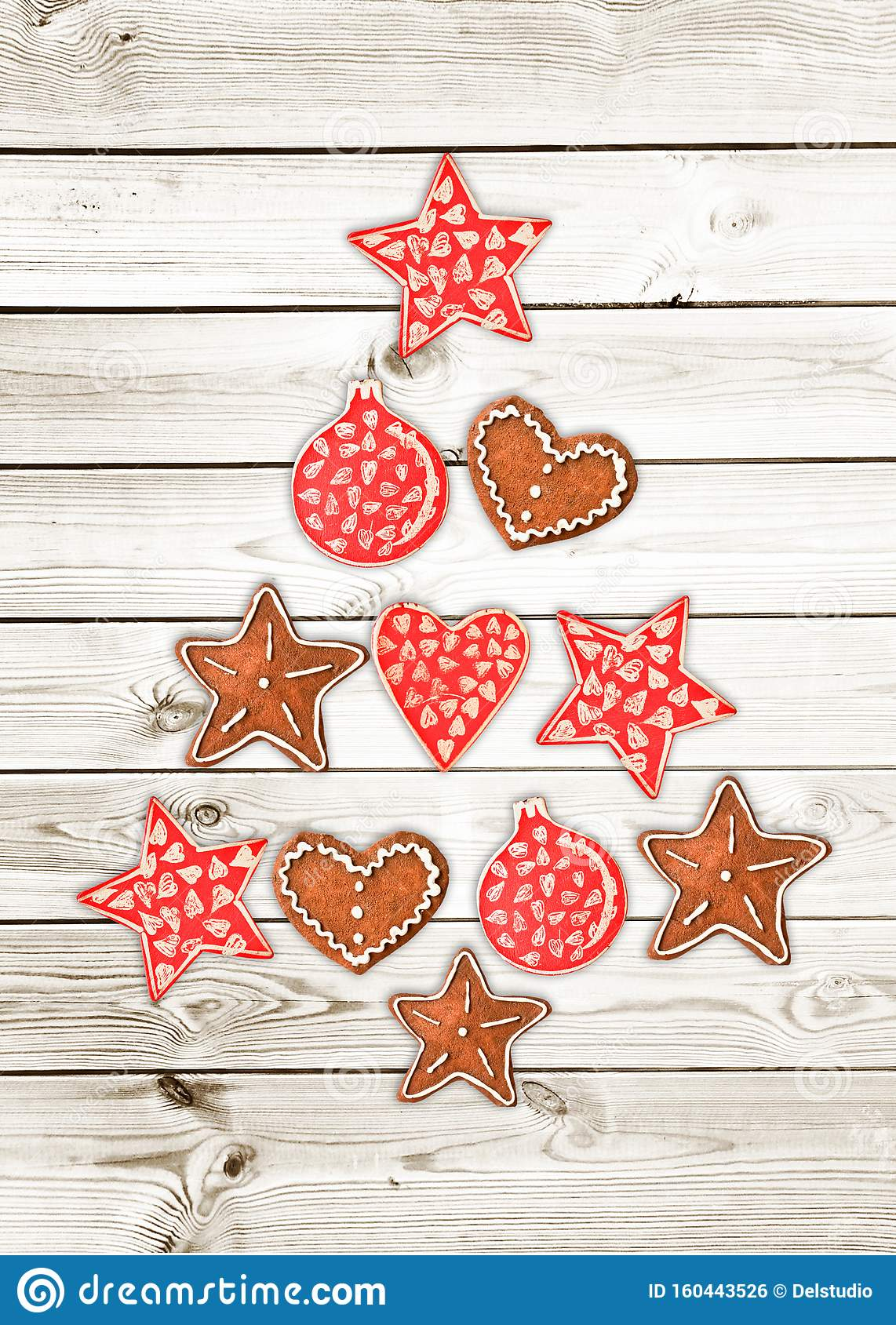 Red And White Christmas Tree Made Of Wooden Rustic Ornaments On White Wooden Planks Background Greeting Card Stock Photo Image Of Flat Season 160443526