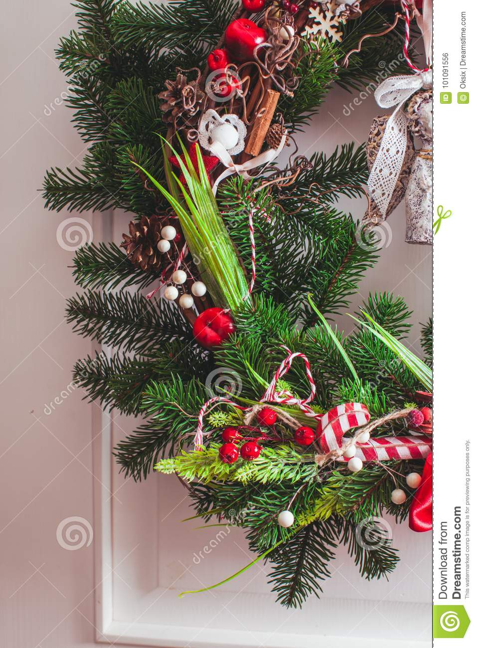 Red And White Christmas Wreath Stock Photo Image Of Shabby Home