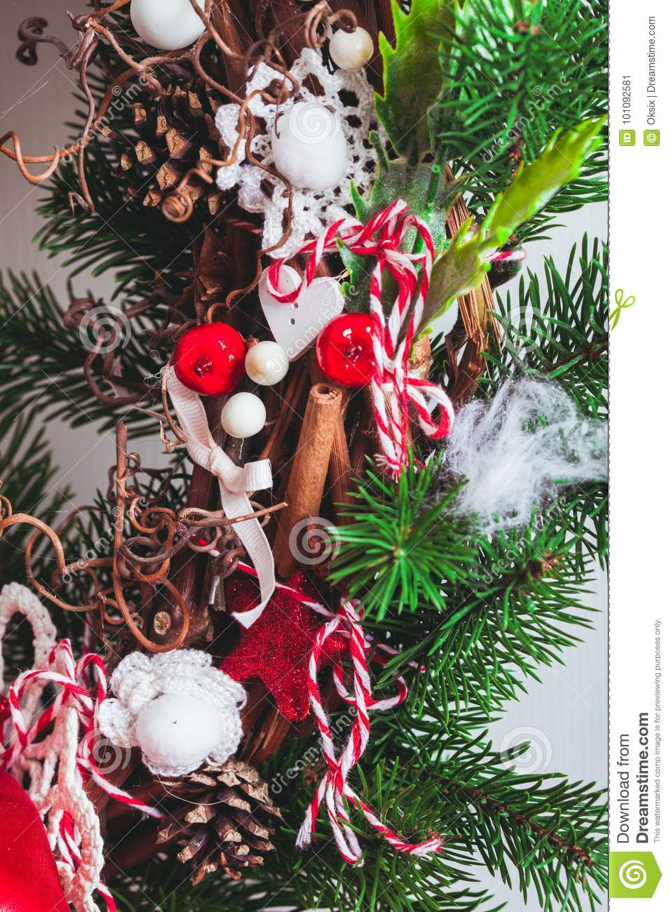 Red And White Christmas Wreath.Red And White Christmas Wreath Stock Image Image Of Ornate