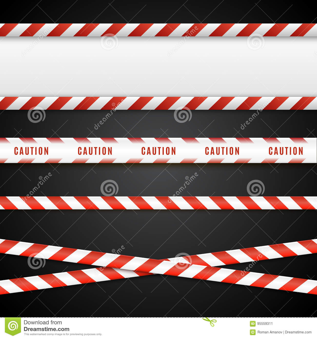 Red and white danger tapes. Caution lines isolated. Vector illustration