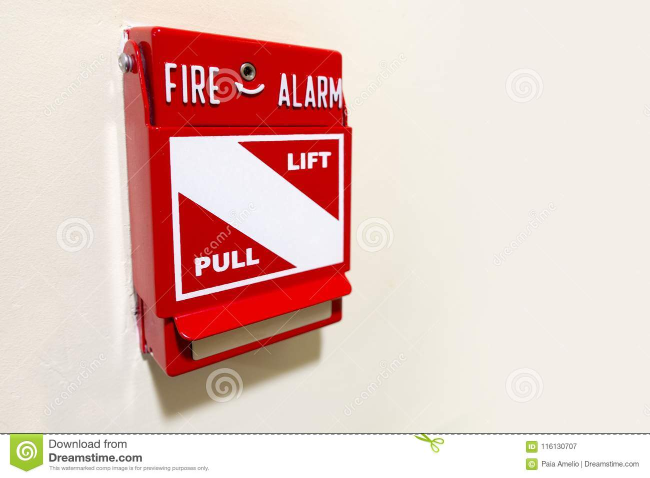 Fire Alarm Manual Lift And Pull Stock Image - Image of