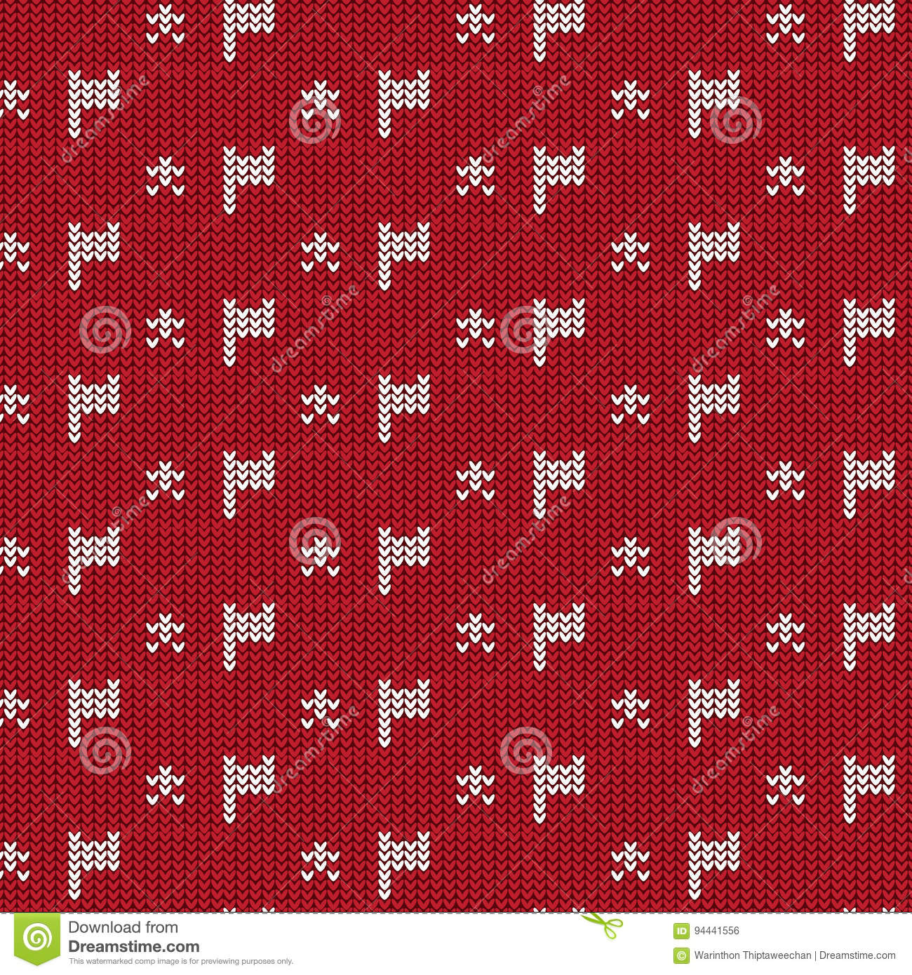 Red And White Flag With Star Knitting Pattern Background Stock ...