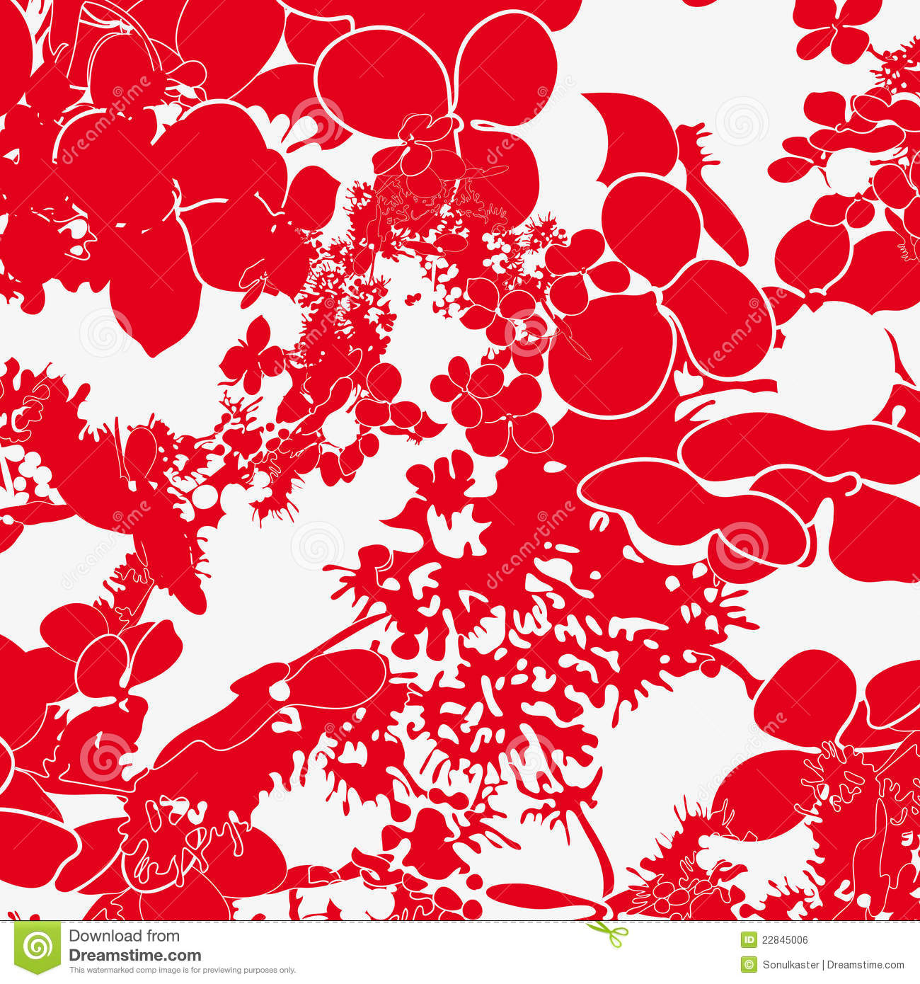 Red And White Floral Seamless Pattern