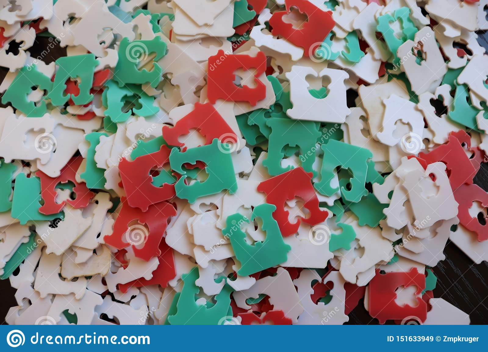 Red, White And Green Plastic Bread Tags Stock Image - Image