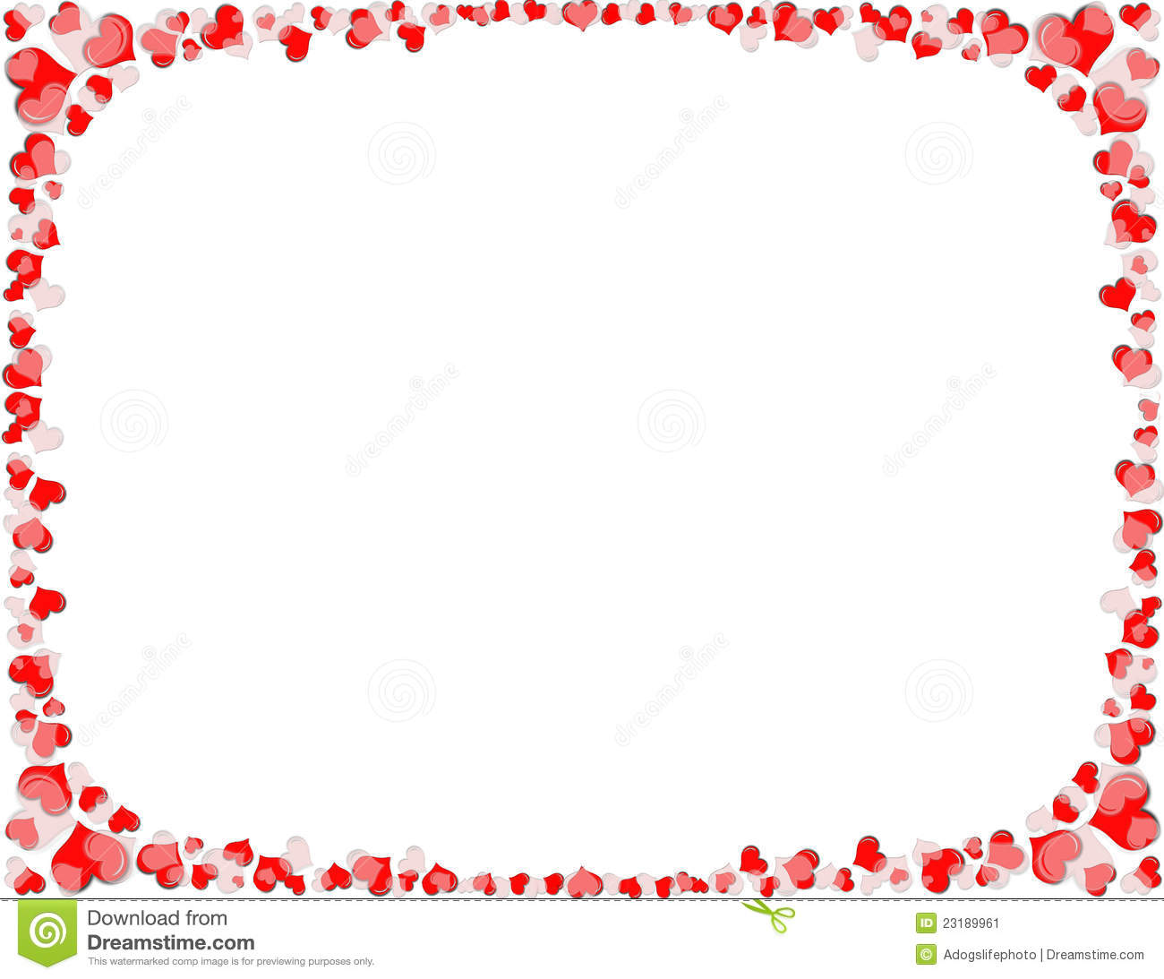 border of red and white hearts. Sixed to fit letter size 8.5 x11 ...