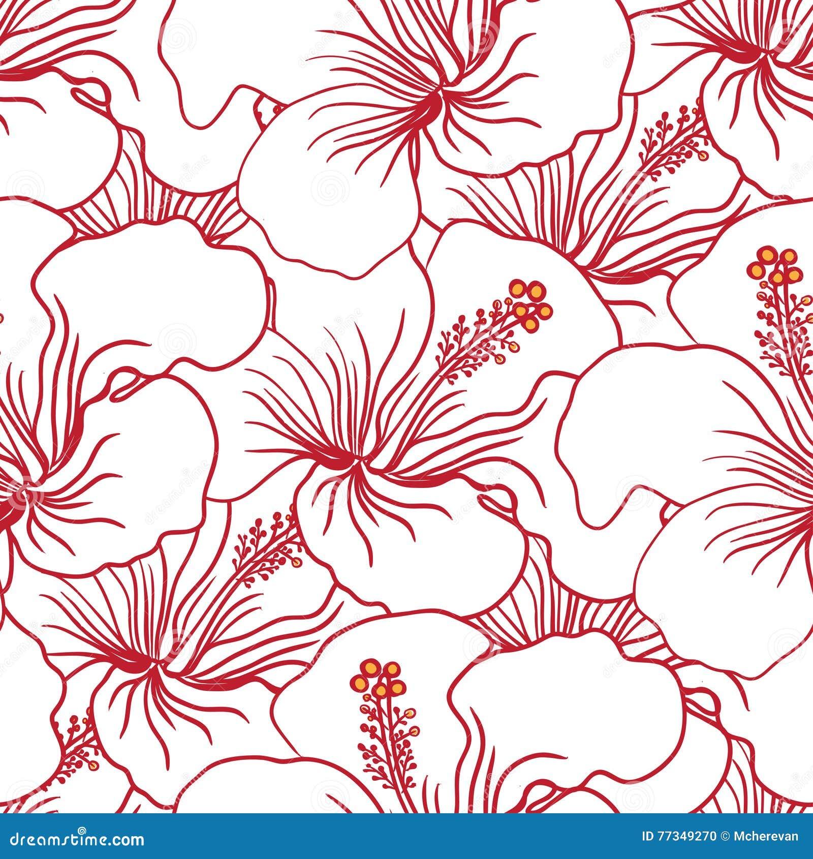 a6961e8bc033 Red and White Hibiscus Seamless Pattern. Hawaiian Aloha Shirt Background.