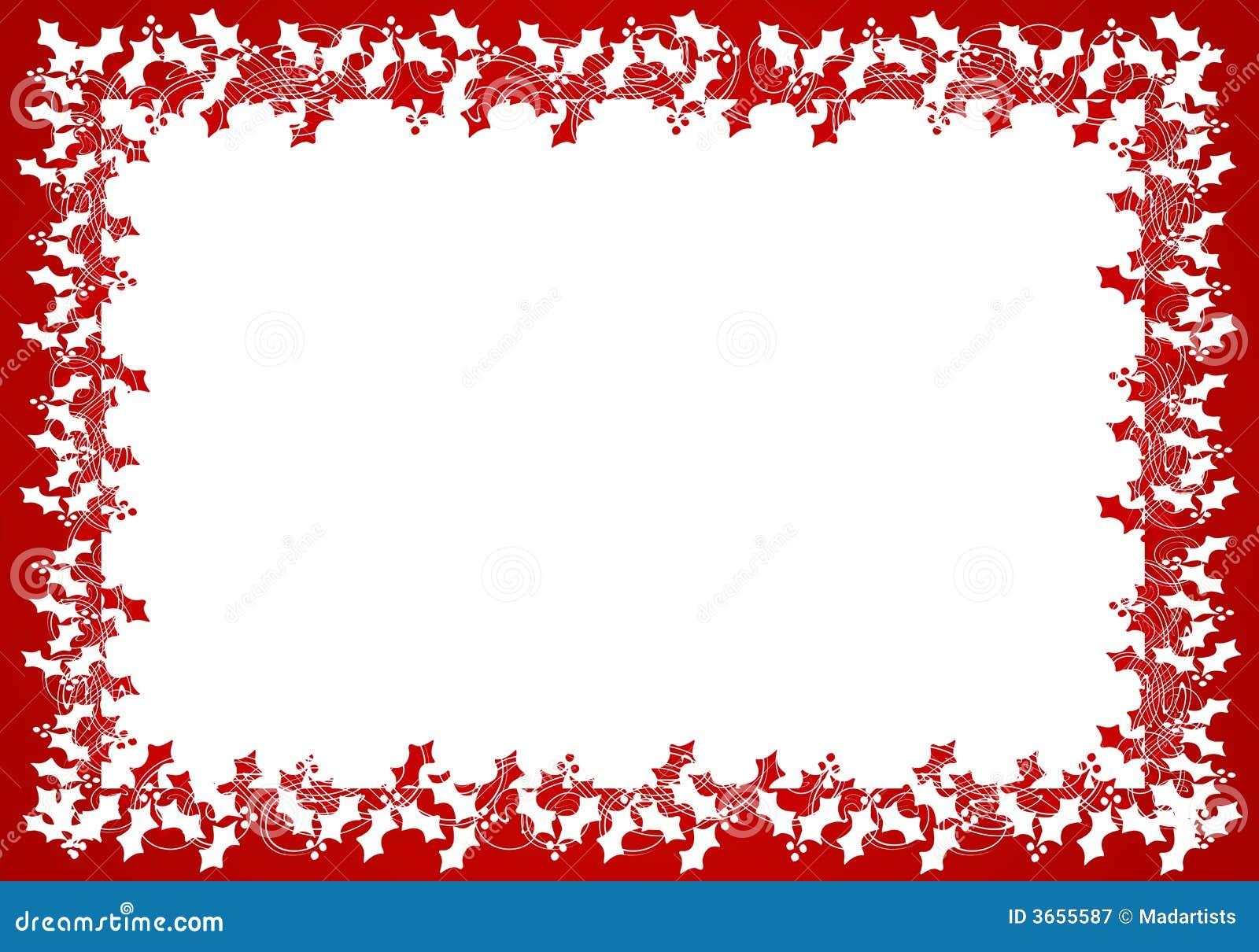 Red White Holly Leaf Frame Or Border Stock Illustration ...