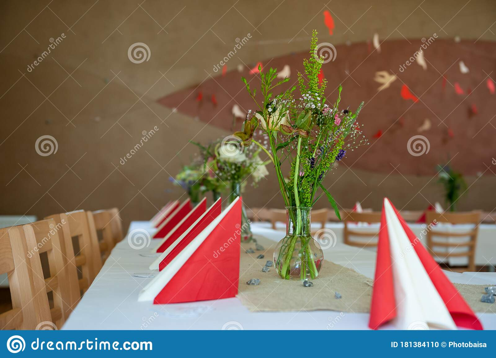 Red And White Indoor Catering Dinner At Summer Wedding With Homemade Meadow Flower Decoration White Wedding Table Decoration With Stock Photo Image Of Celebration Flower 181384110
