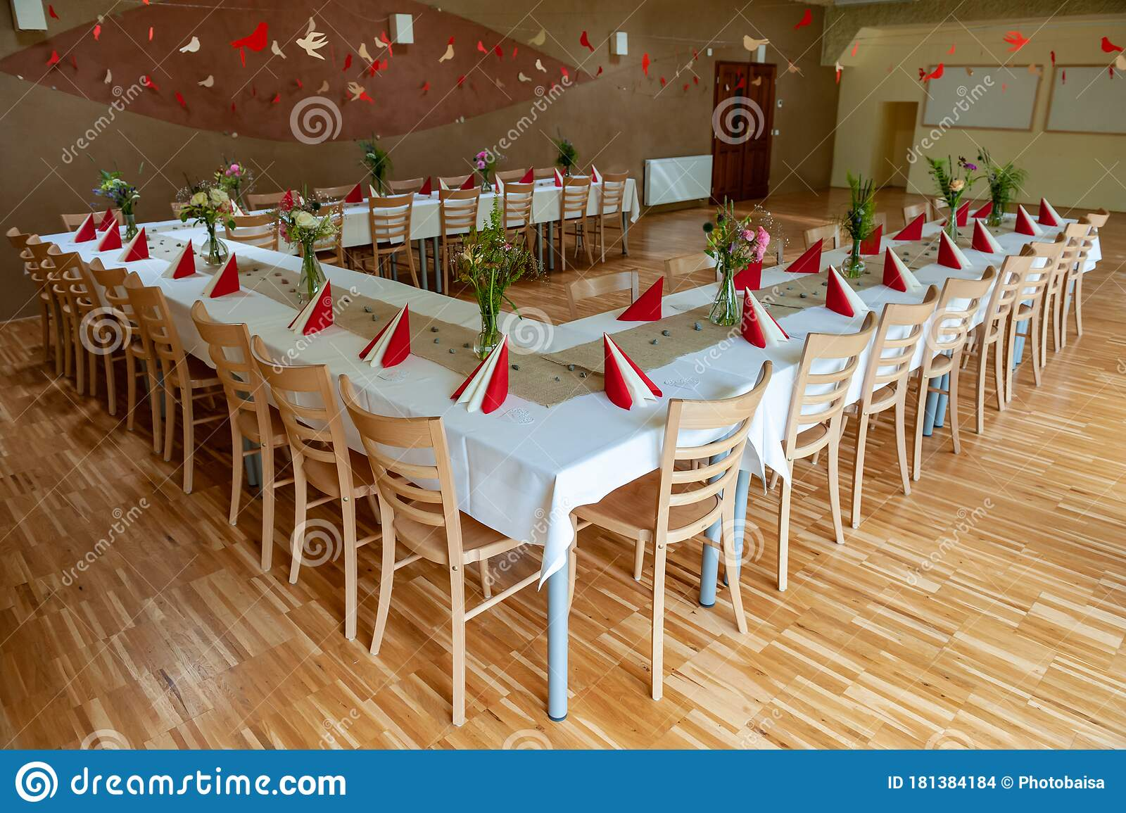 Red And White Indoor Catering Dinner At Summer Wedding With Homemade Meadow Flower Decoration White Wedding Table Decoration With Stock Photo Image Of Arrangement Chair 181384184
