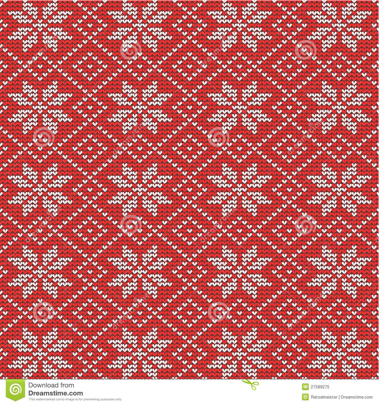 Christmas Knitting Background : Red and white knitted snowflakes background stock vector
