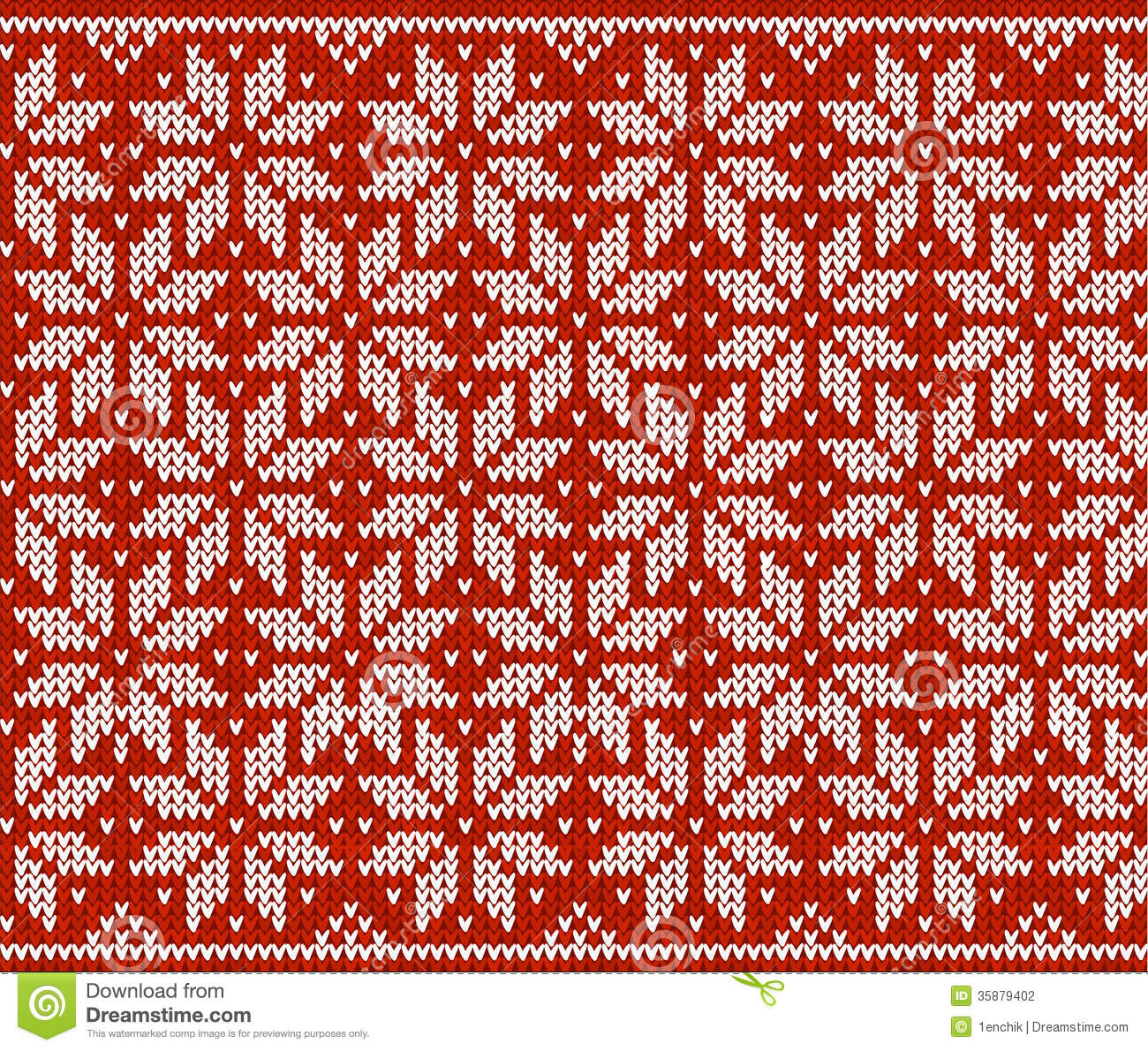 Red and white knitted snowflakes seamless pattern