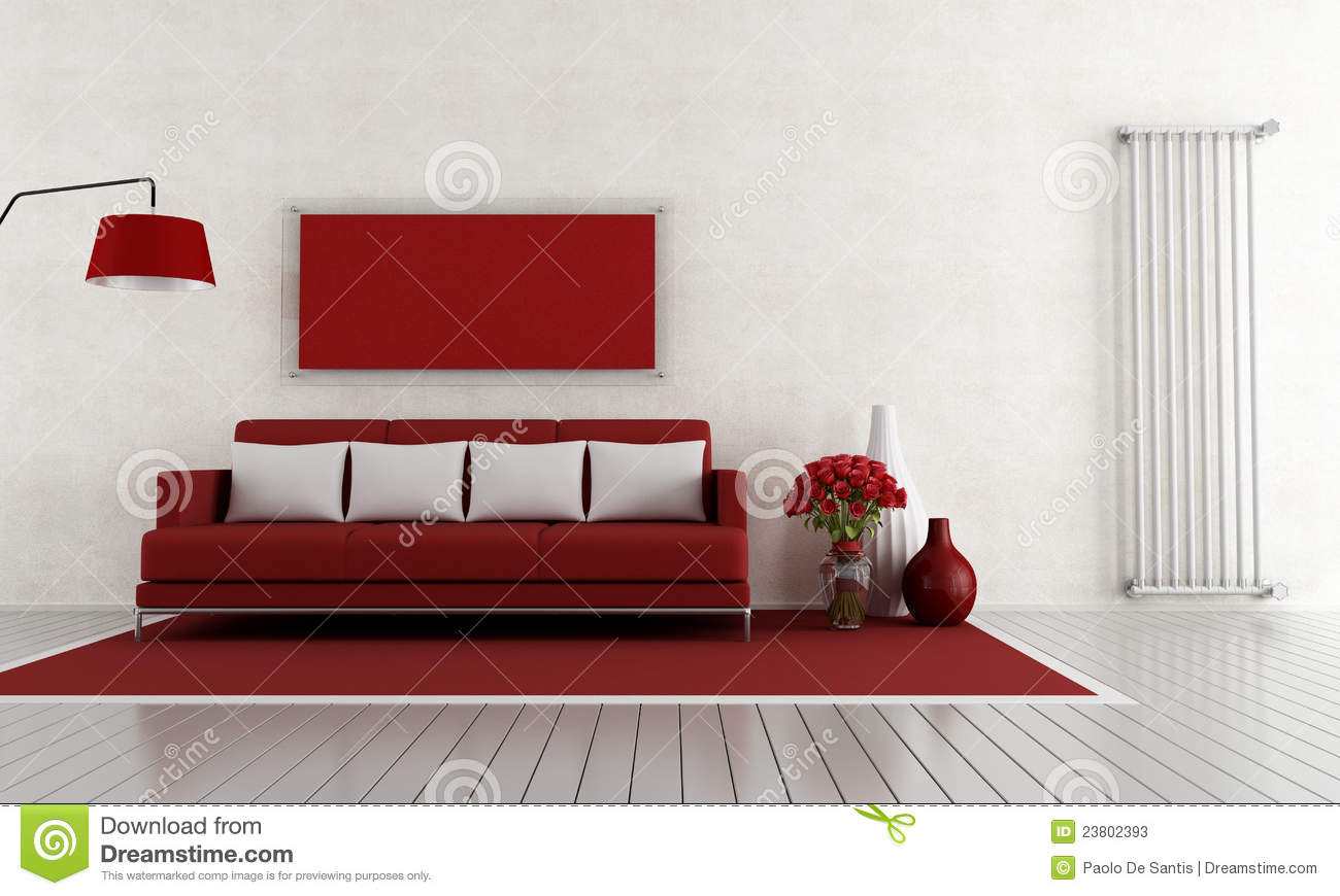 Royalty Free Stock Photo. Download Red And White Living Room ...