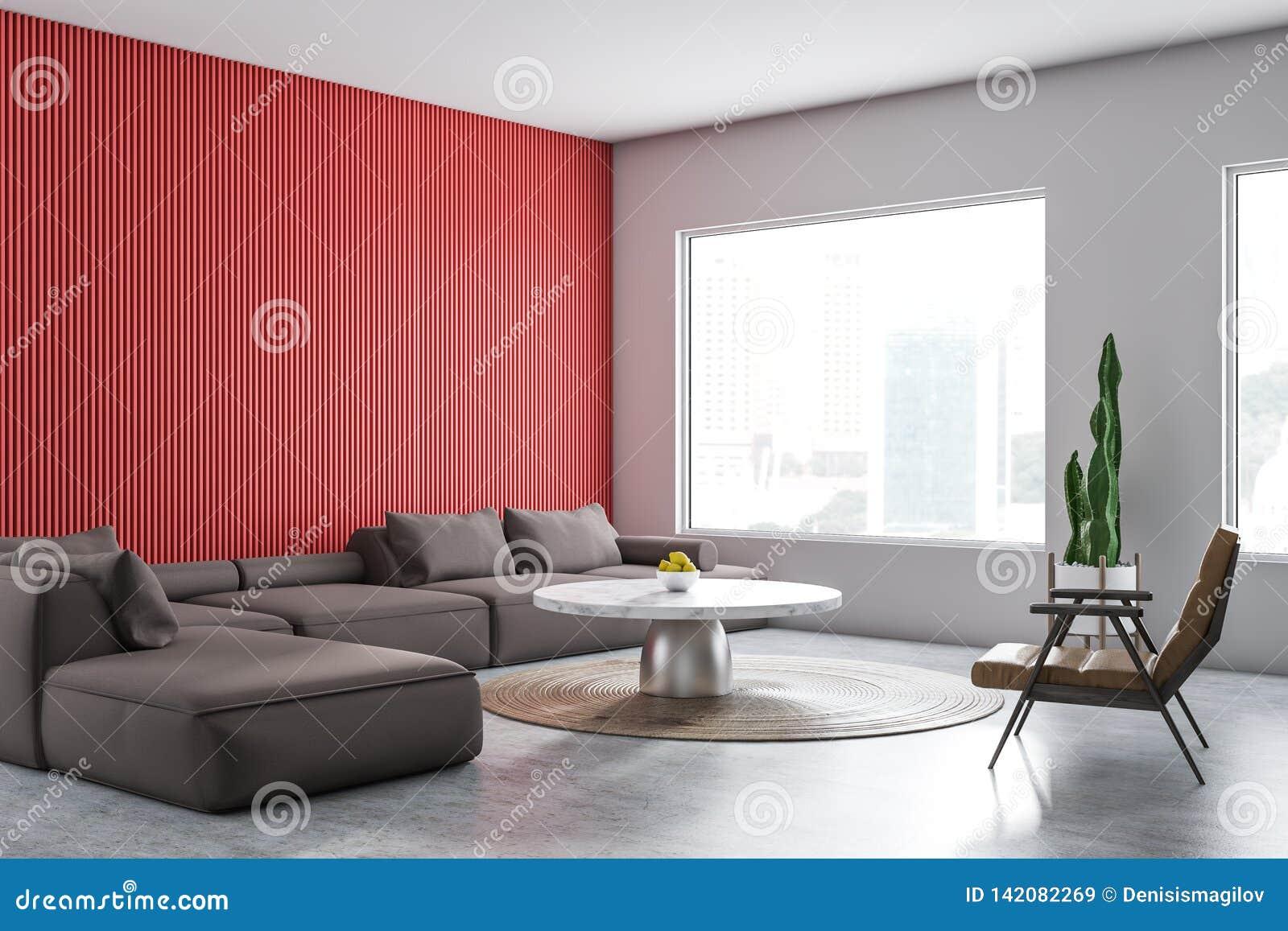 Red And White Living Room Corner Stock Illustration ...