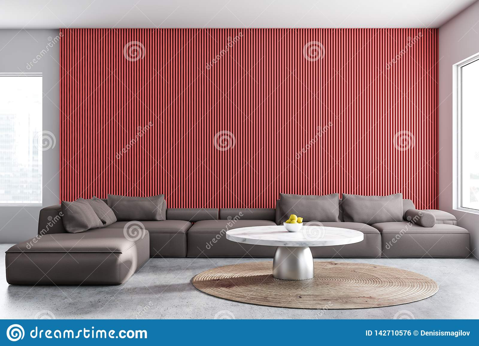 Red And White Living Room Interior Stock Illustration