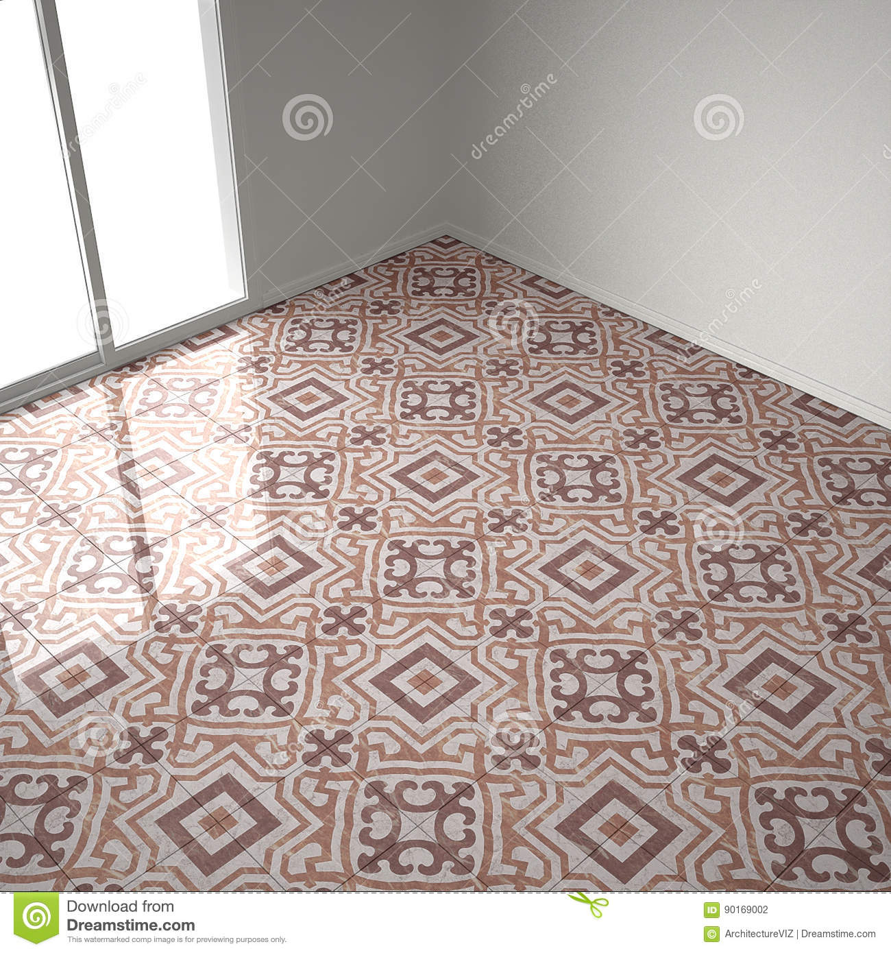 Red And White Marble Floor Tiles In Empty Room With Big Window Stock Illustration Illustration Of Decoration Empty 90169002
