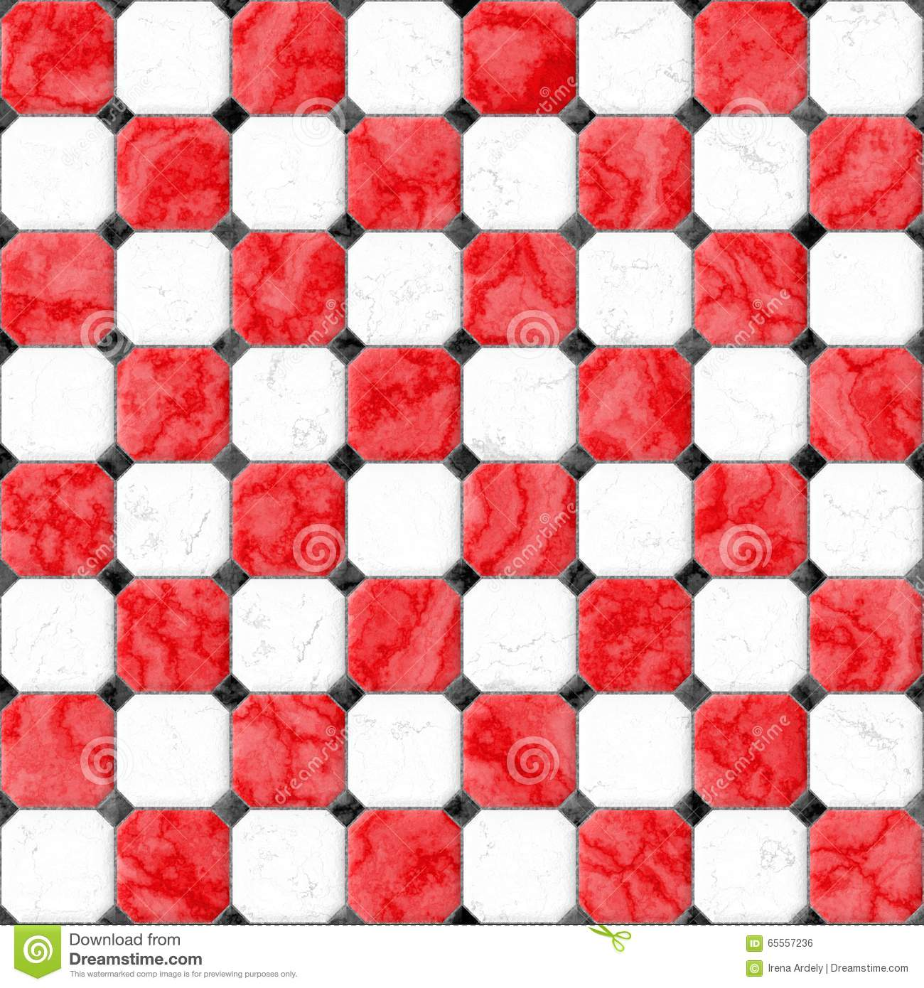 Red White Marble Square Floor Tiles With Black Rhombs And Gray Gap