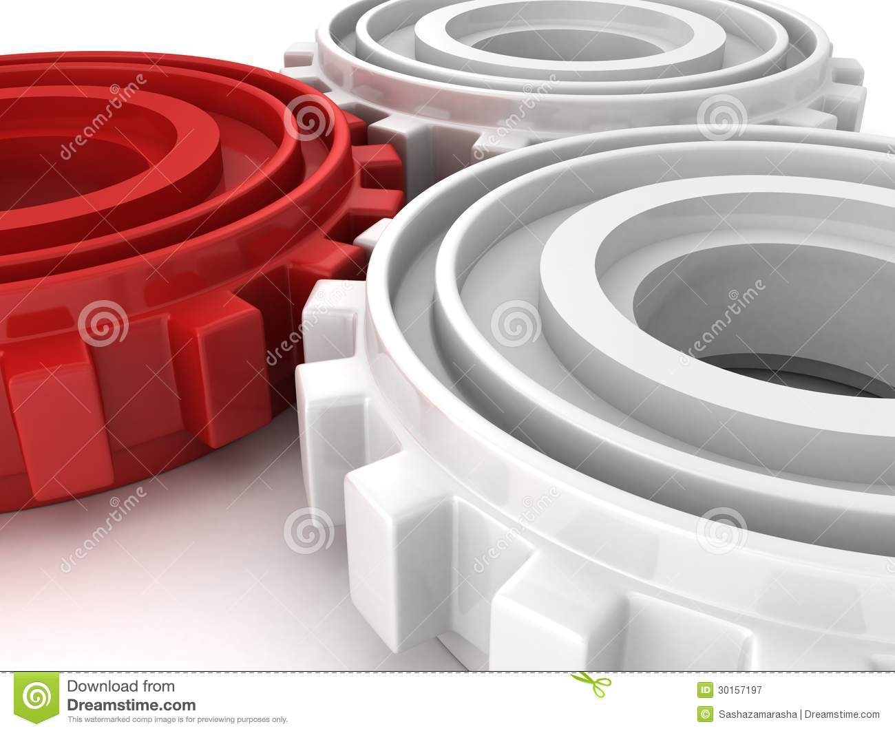 Red And White Mechanical Technology Gears Background Stock