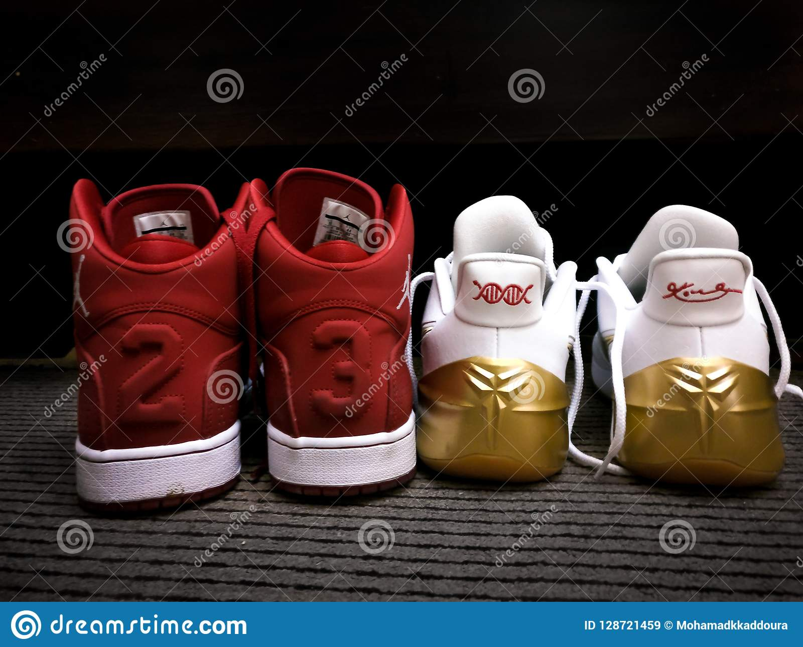 Red And White Nike Michael Jordan 23 Sneakers Kobe Bryant