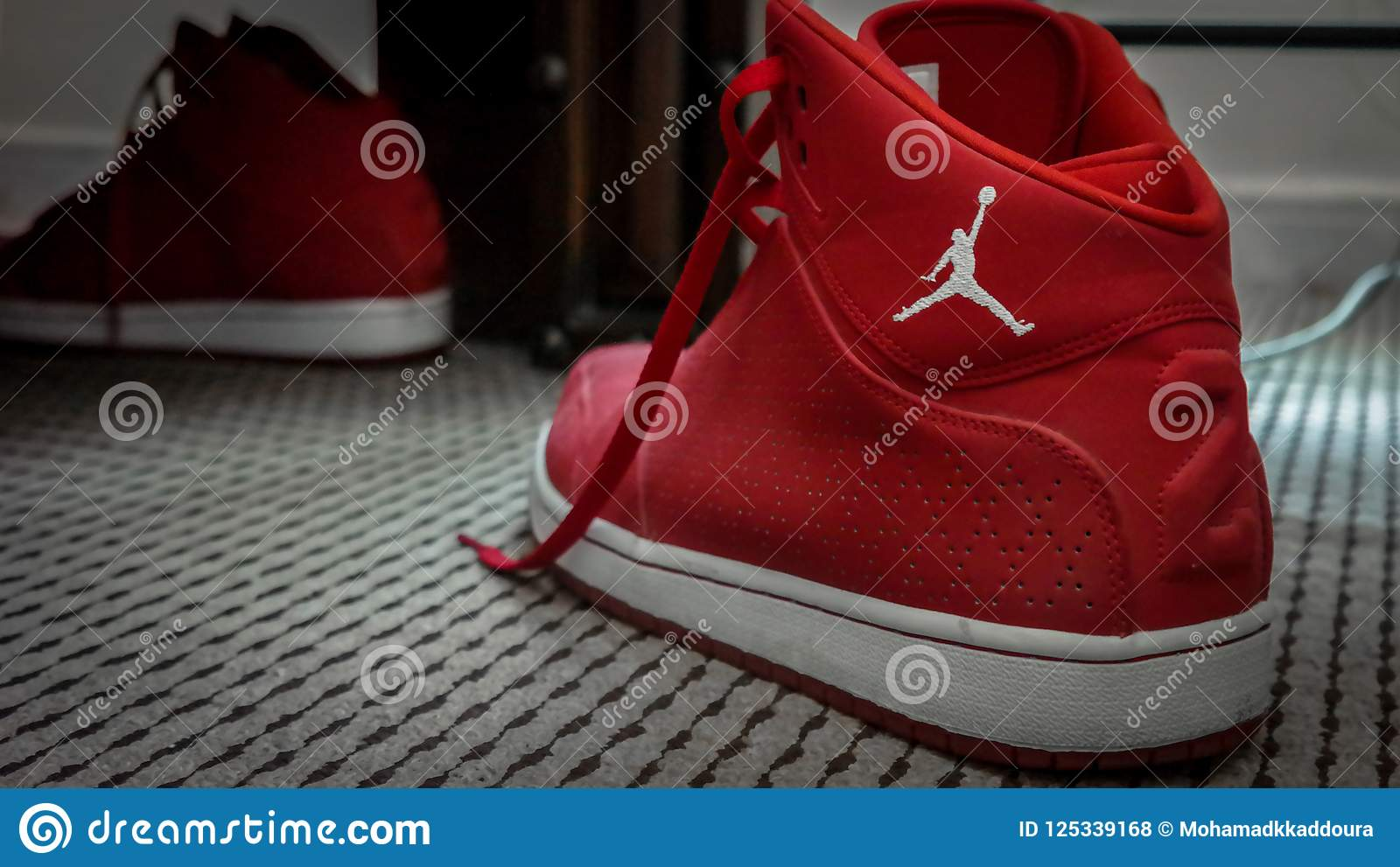 17aea9cb354b Red And White Nike MJ 23 Basketball Sneakers Editorial Stock Photo ...