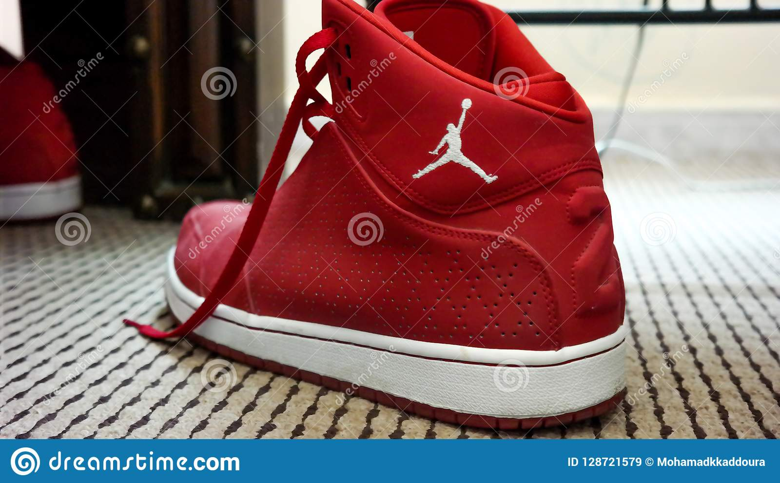 d42038f18ea8 Red And White Nike MJ 23 Sneakers Editorial Stock Image - Image of ...