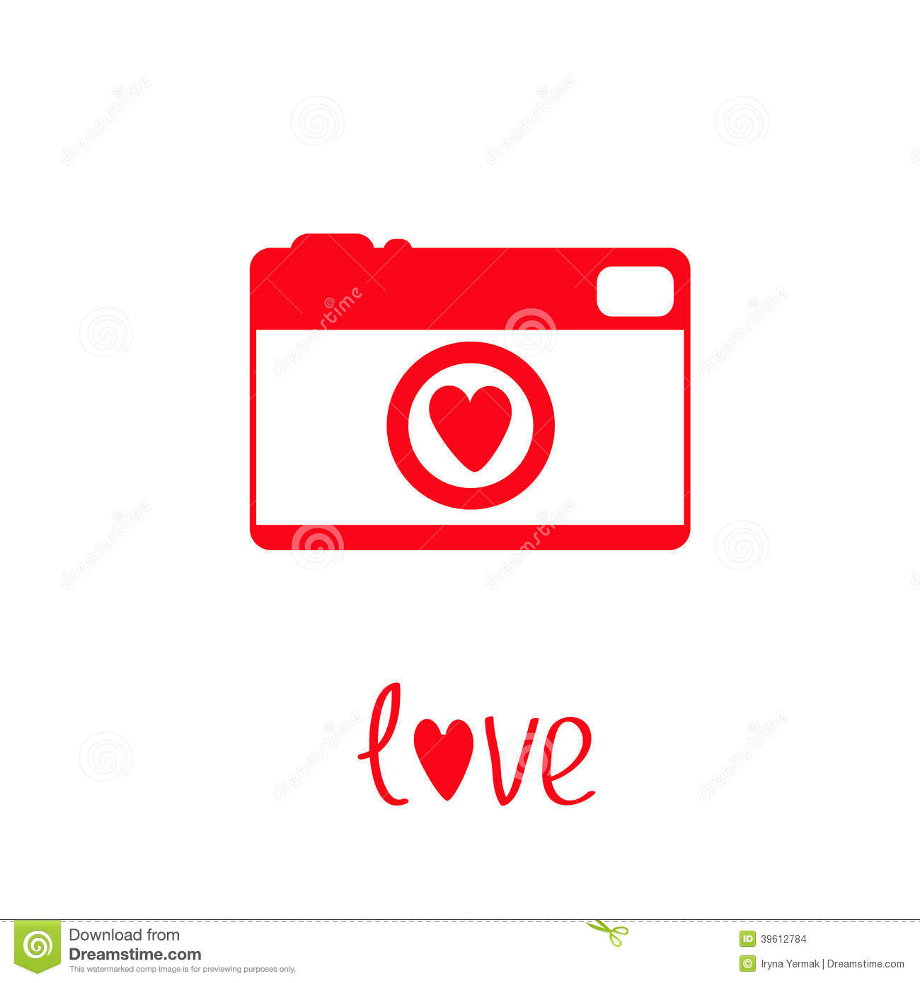 Red And White Photo Camera With Heart. Love Card. Stock Vector - Image ...