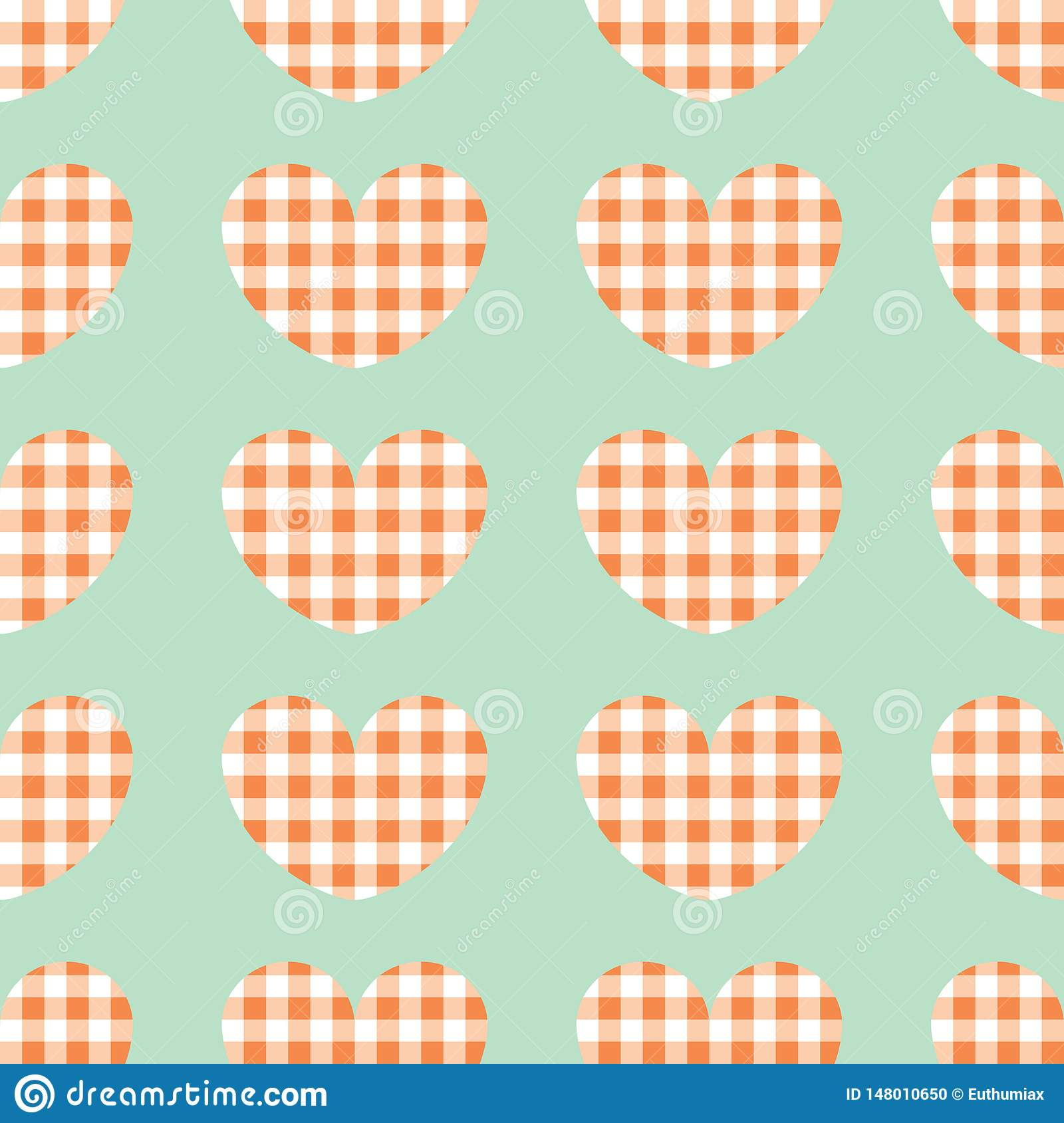 Red and white plaid vector background. Seamless repeat checkered hearts pattern