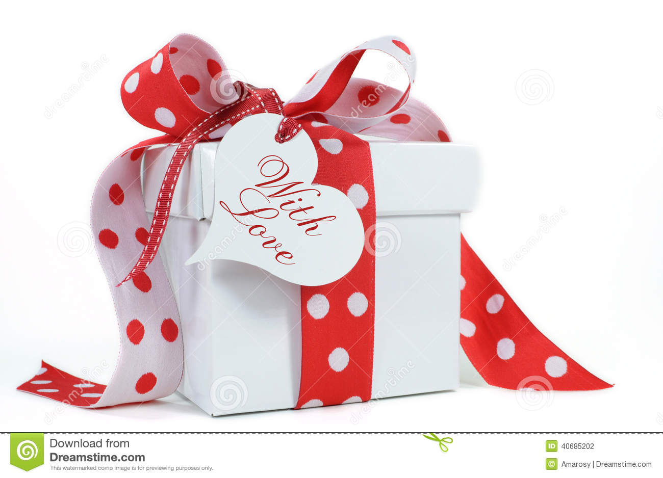 Red And White Polka Dot Theme Gift Box Present Stock Photo - Image ...
