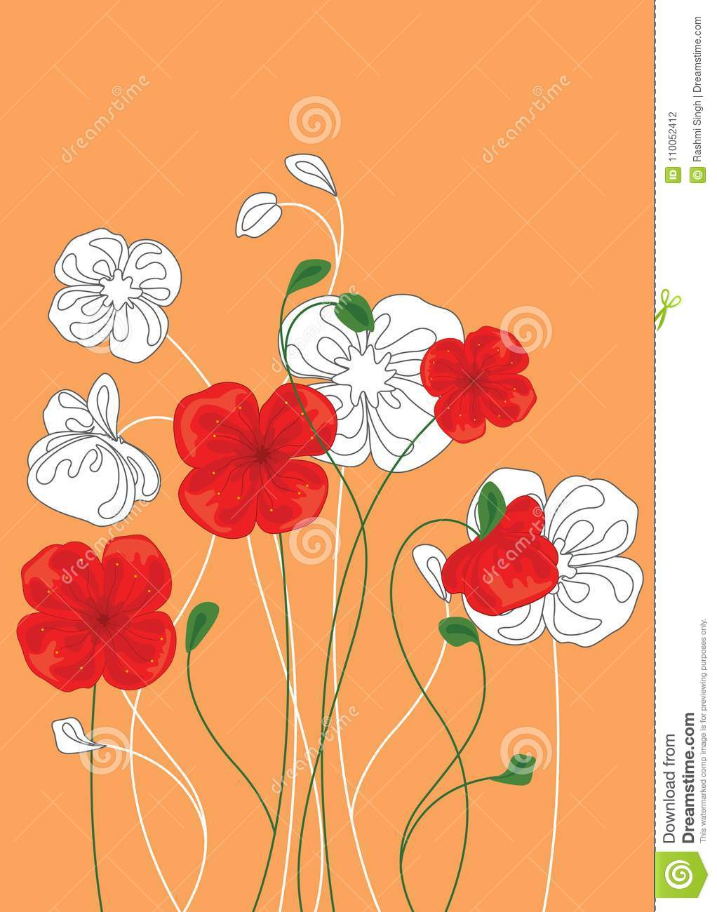 Red And White Poppy Flowers Floral Background With Poppies Vector
