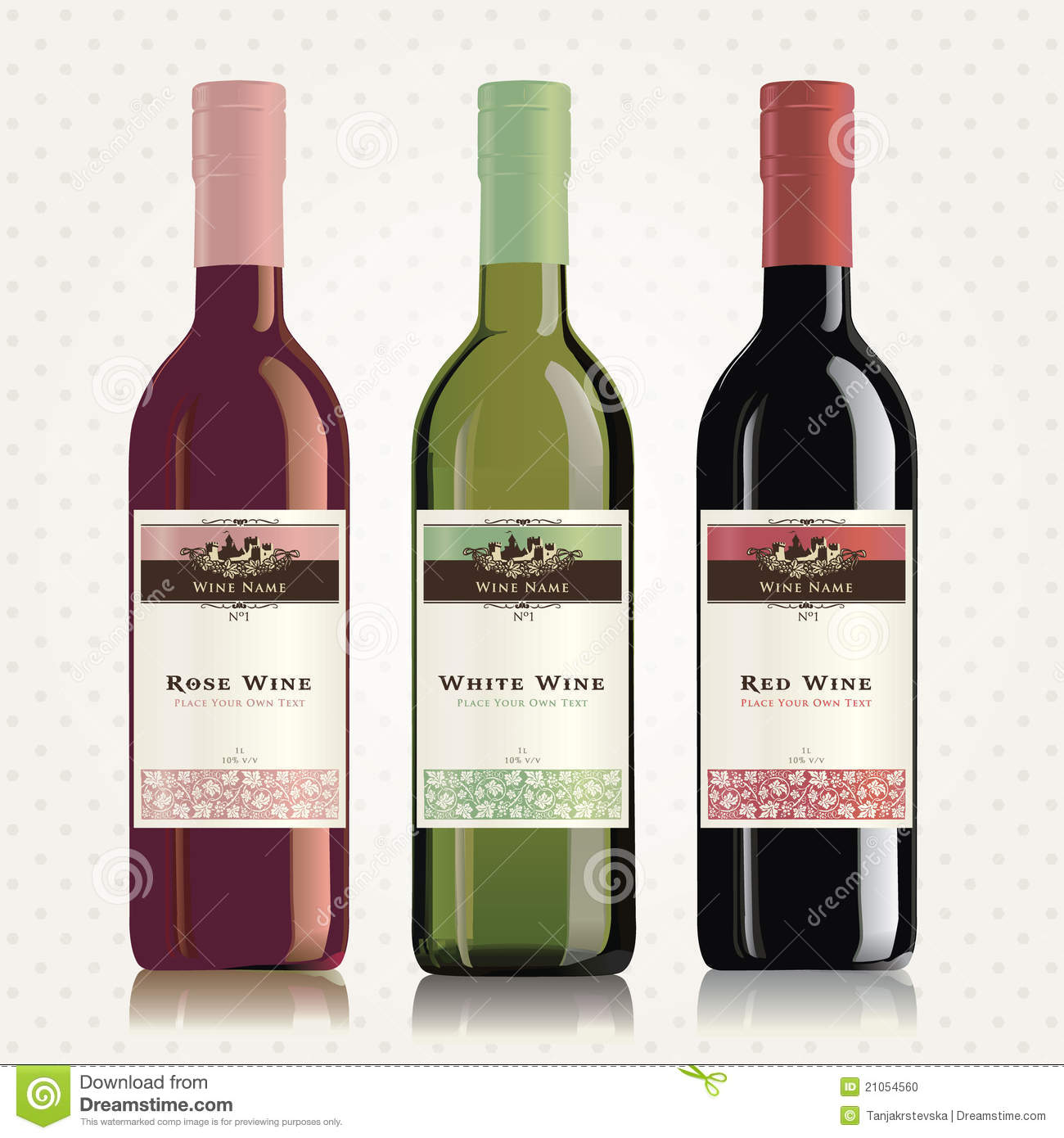 Red, White And Rose Wine Labels And Bottles Stock Photo - Image ...