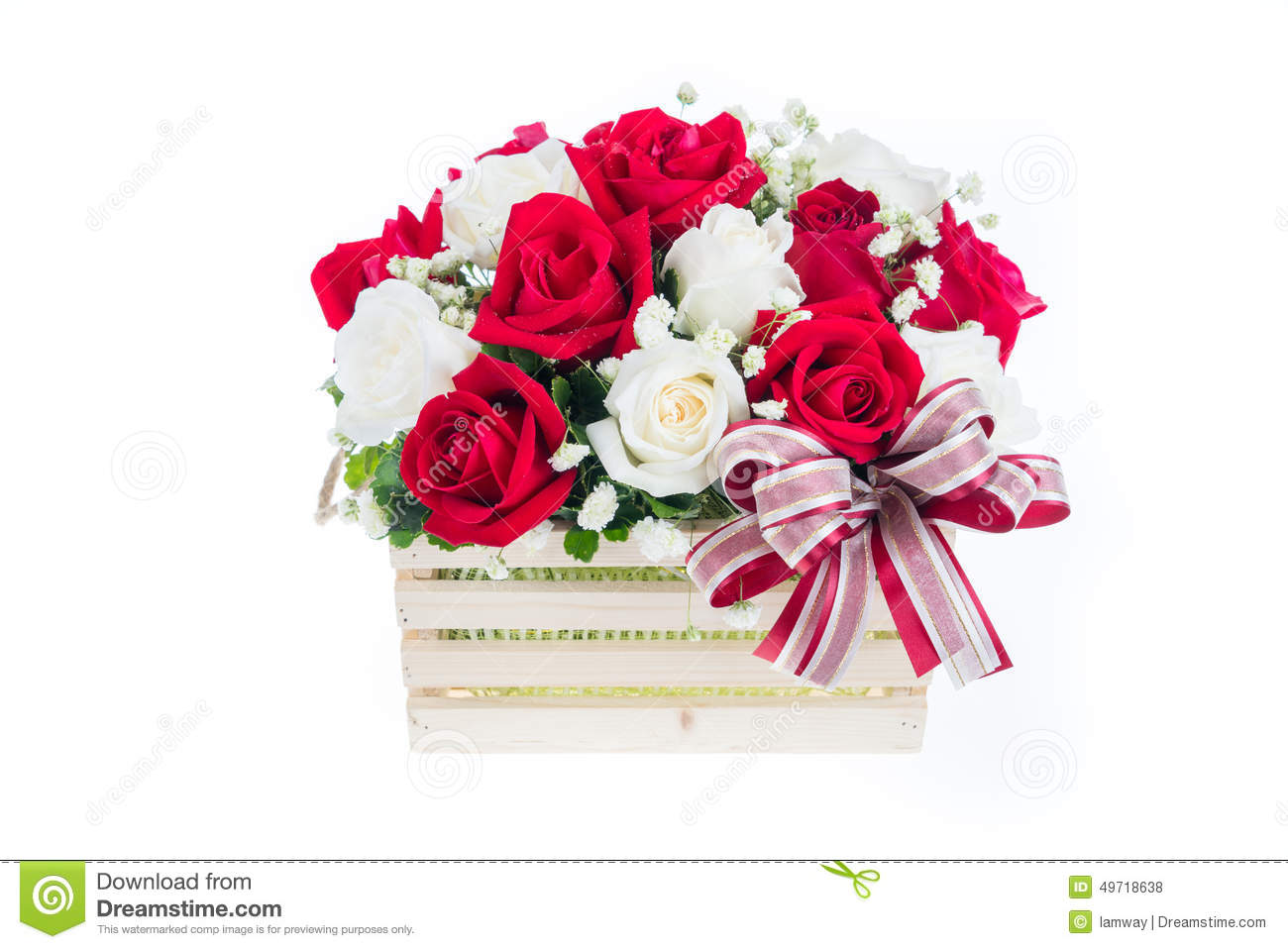 Red And White Rose In A Wooden Basket With Beautiful Ribbon Gif