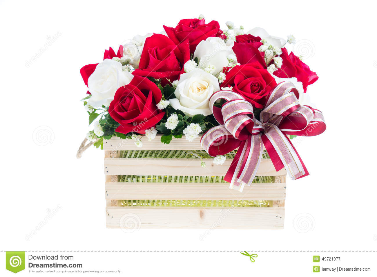 Red and white rose in a wooden basket with beautiful ribbon gif download red and white rose in a wooden basket with beautiful ribbon gif stock image izmirmasajfo