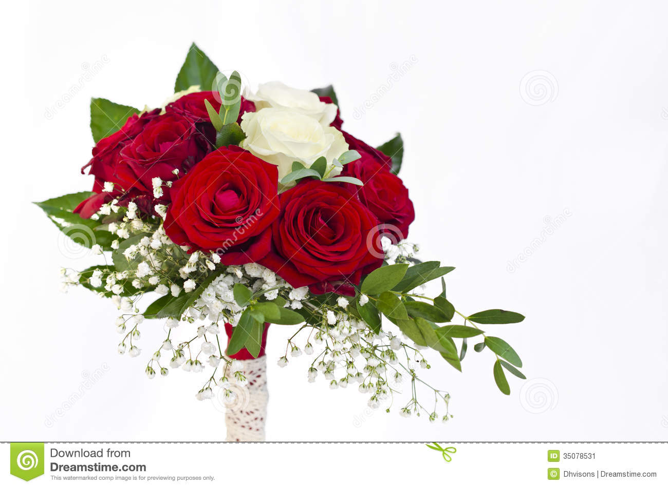 White And Red Roses Bouquet Red and white roses wedding