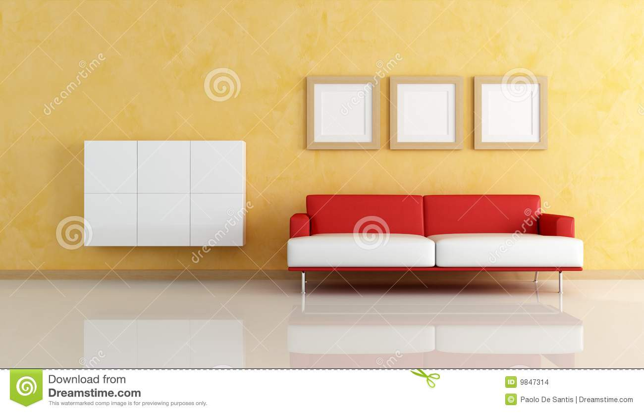 Red And White Sofa In A Orange Living Room Stock Illustration ...