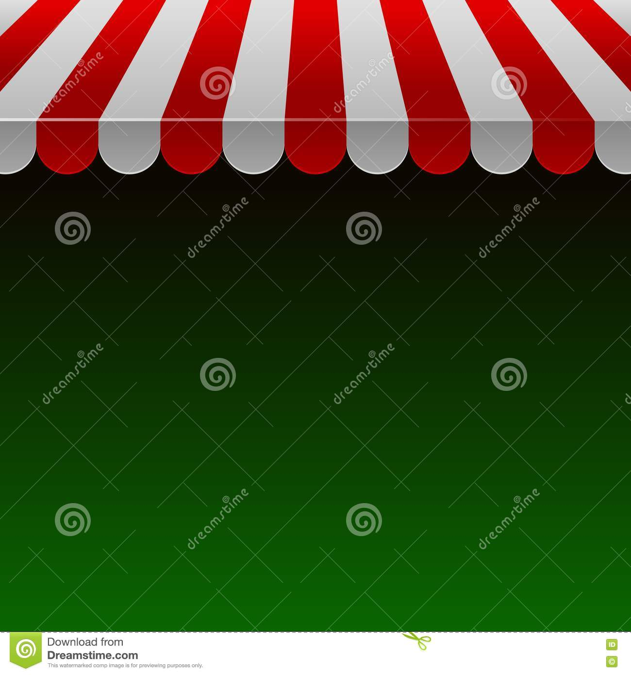 Red And White Strip Shop Awning With Space For Text Vector