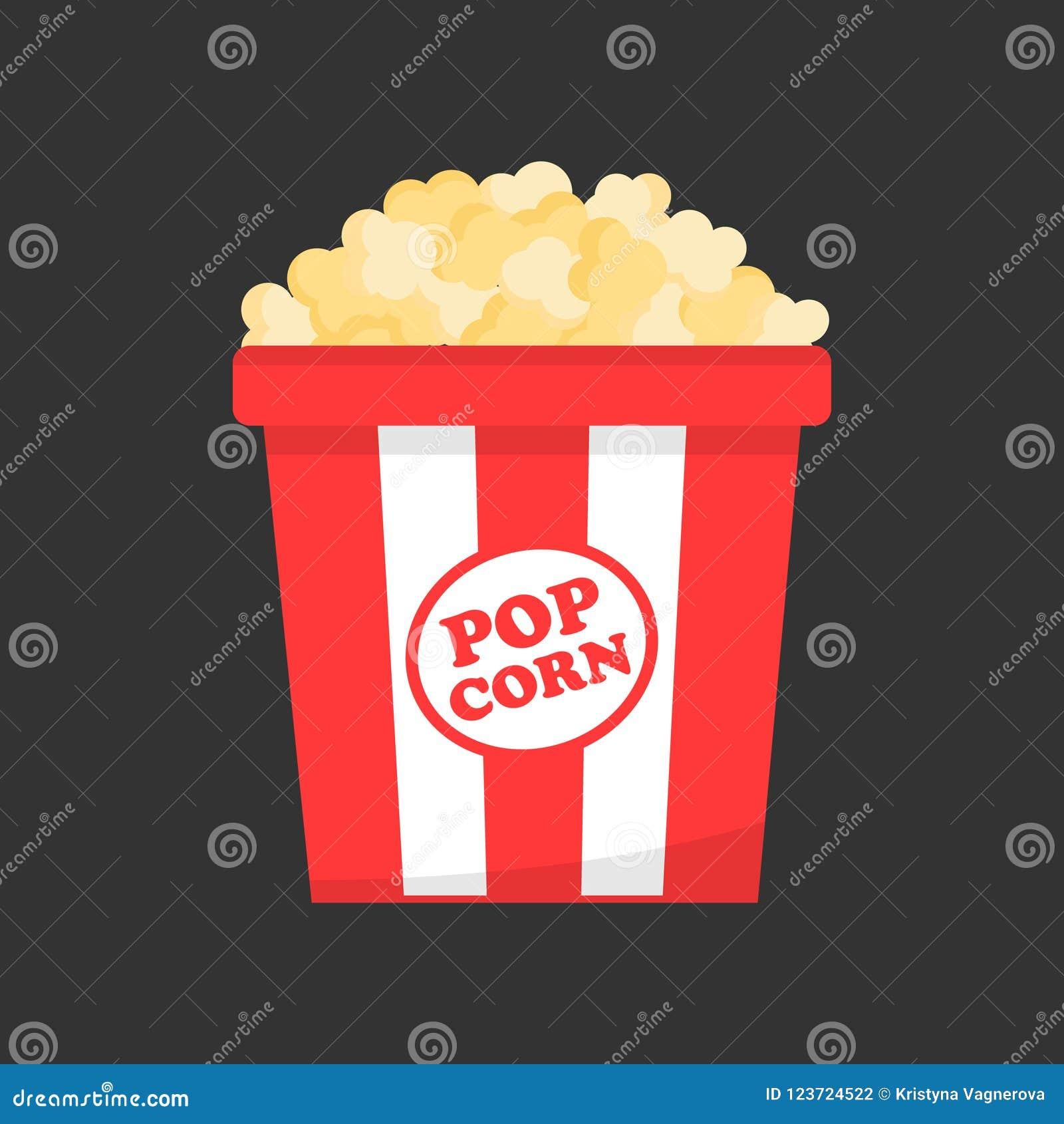 Popcorn in paper box vector icon
