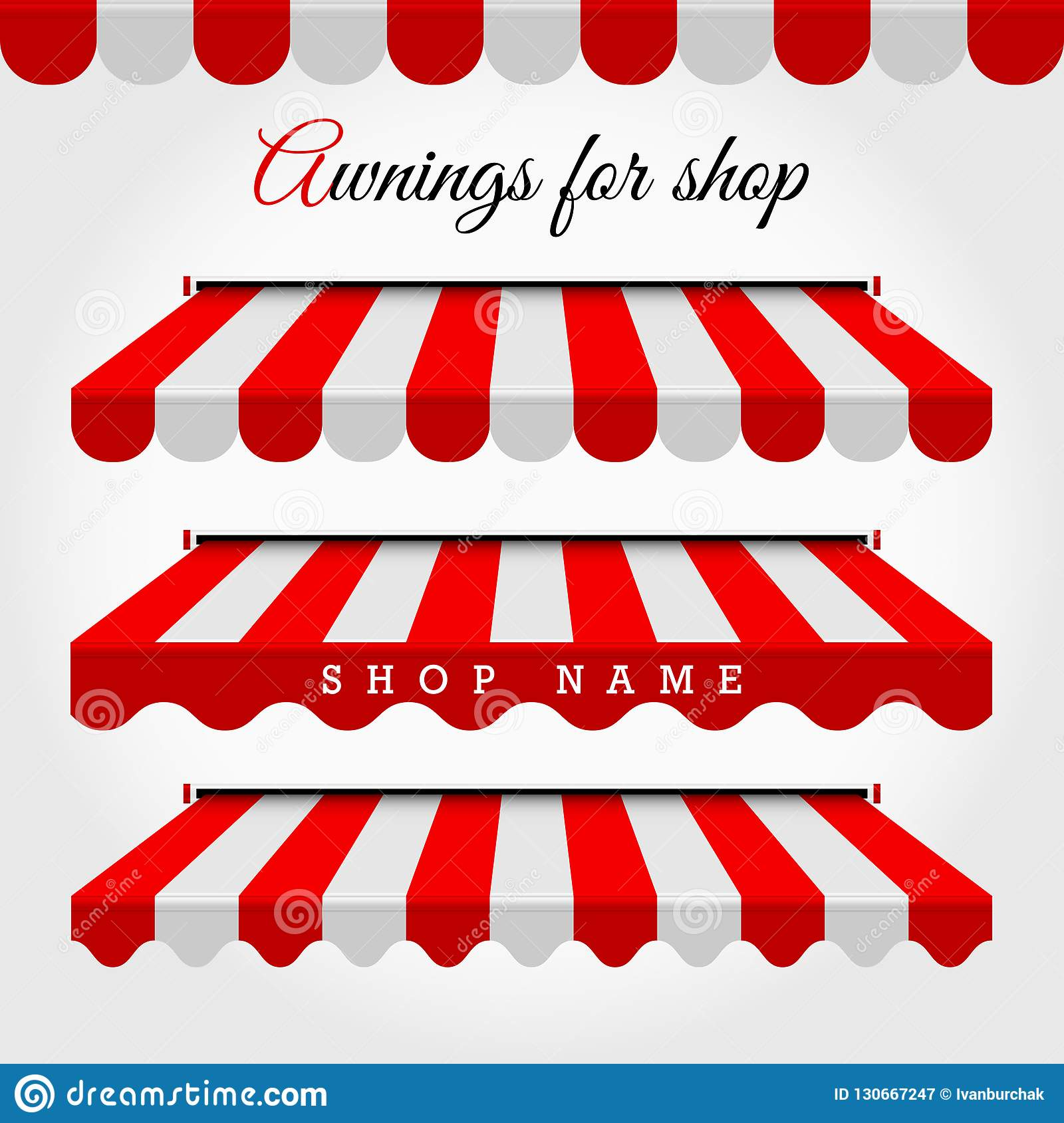 Red And White Striped Vector Awnings For Shop, Cafe ...
