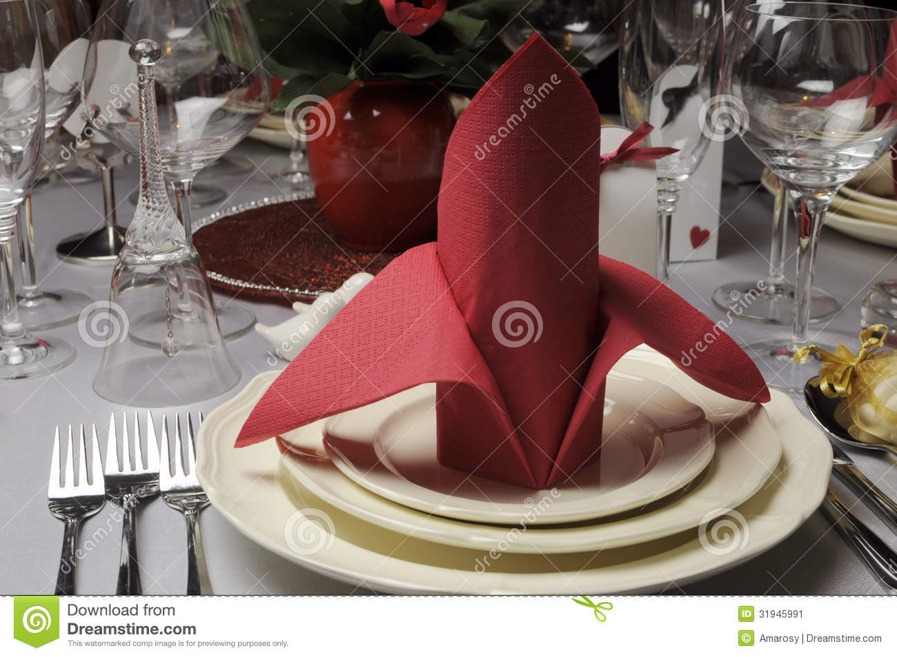Red And White Theme Wedding Breakfast Dining Table Setting Close Up