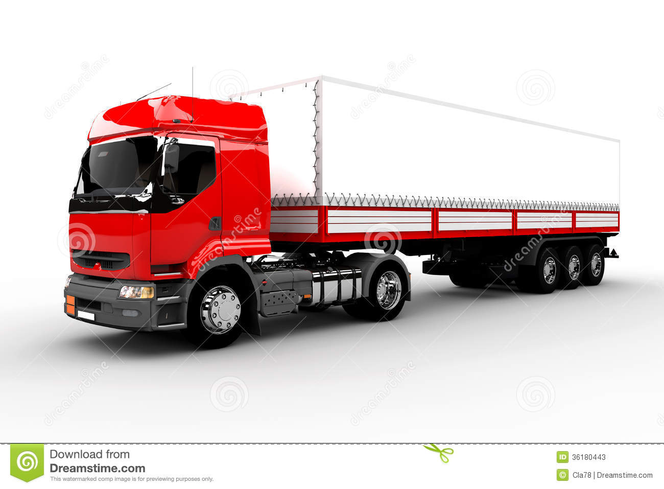 Red And White Transport Truck Stock Illustration