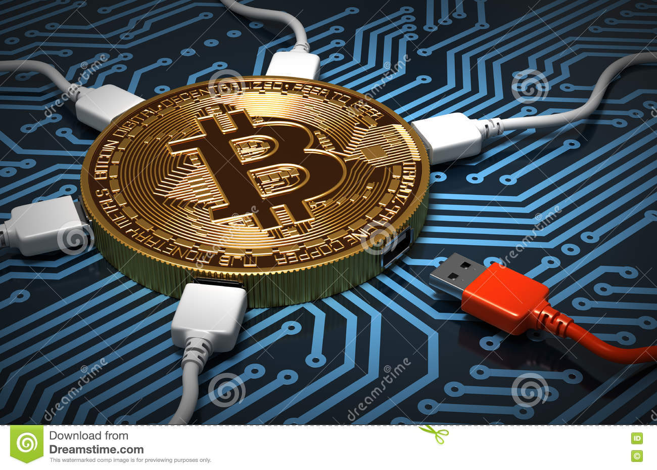 red and white usb wires connected to the bitcoin on printed circuit board