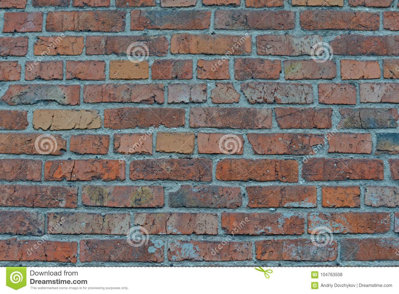 Red White Wall Background. Old Grungy Brick Wall Horizontal Texture. Brickwall Backdrop. Stonewall Wallpaper. Vintage Wall With Pe