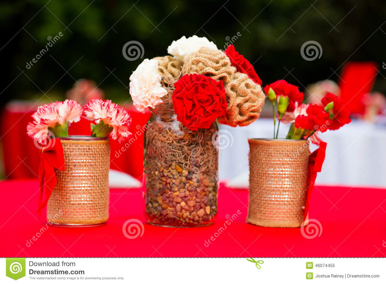 Red and White Wedding Decor Flowers