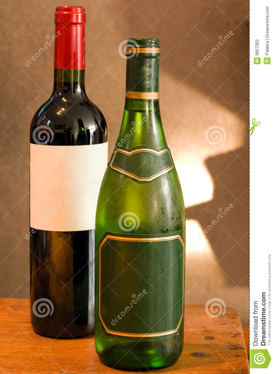 Red And White Wine Bottle With Empty Labels Stock Photos ...