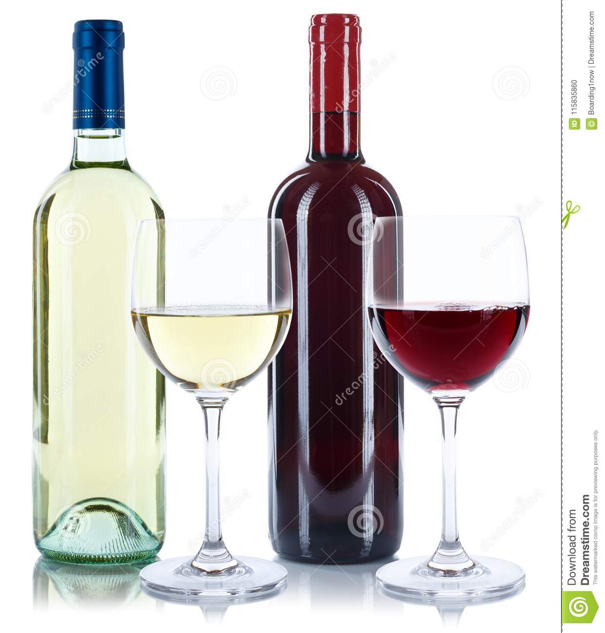 Red and white wine bottles beverage glasses isolated