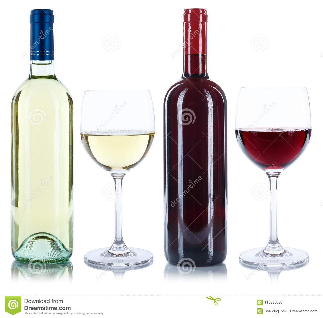 Red and white wine bottles glass alcohol drink isolated