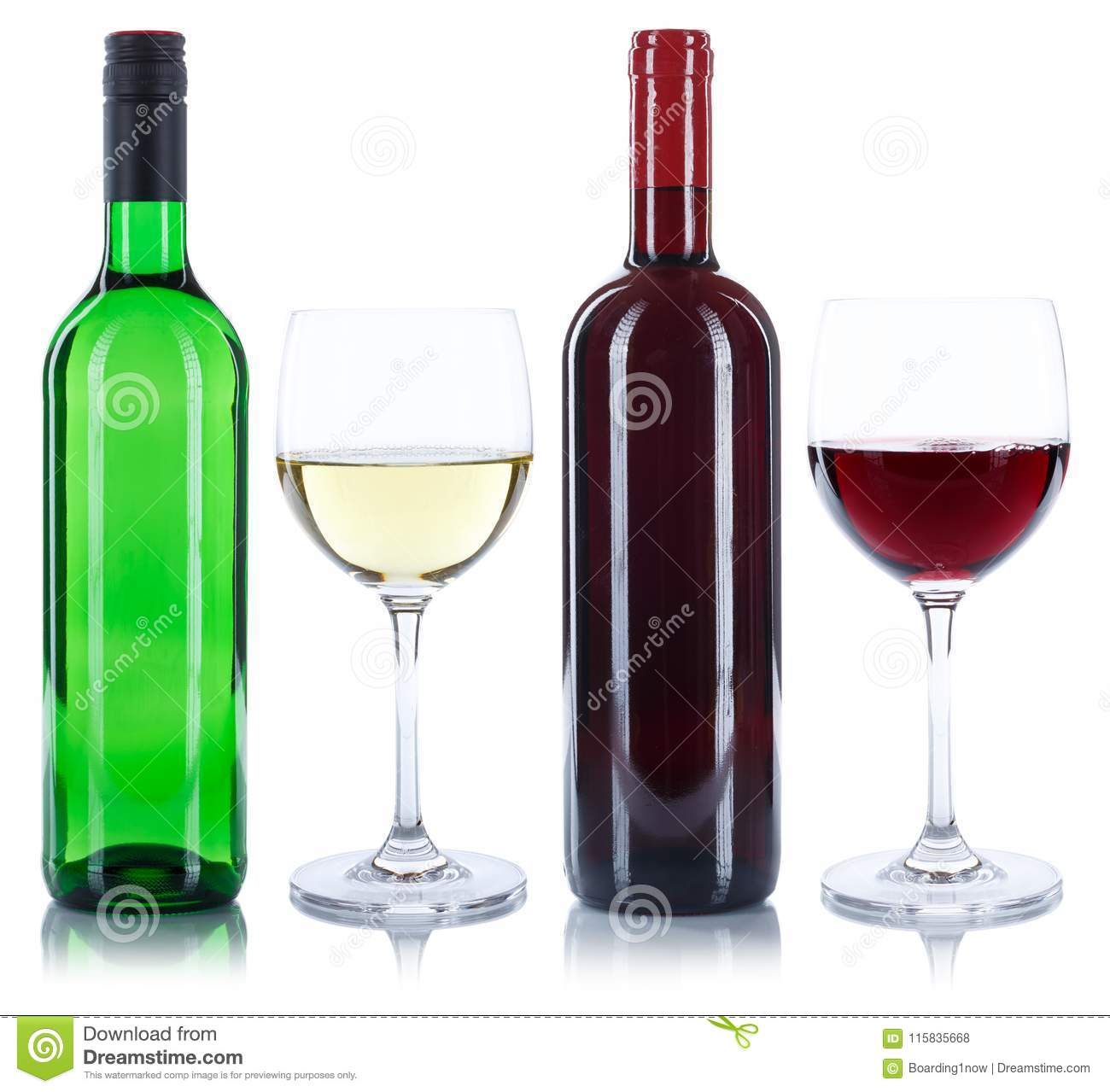 Red and white wine bottles glass alcohol isolated