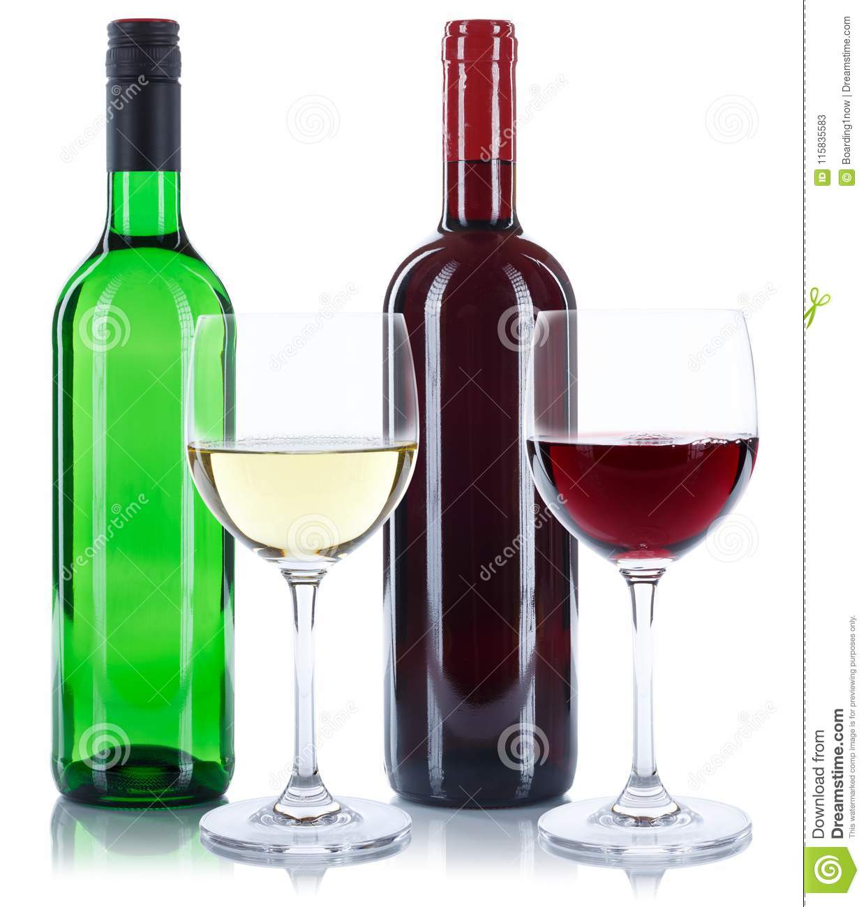 Red and white wine bottles glasses isolated on white