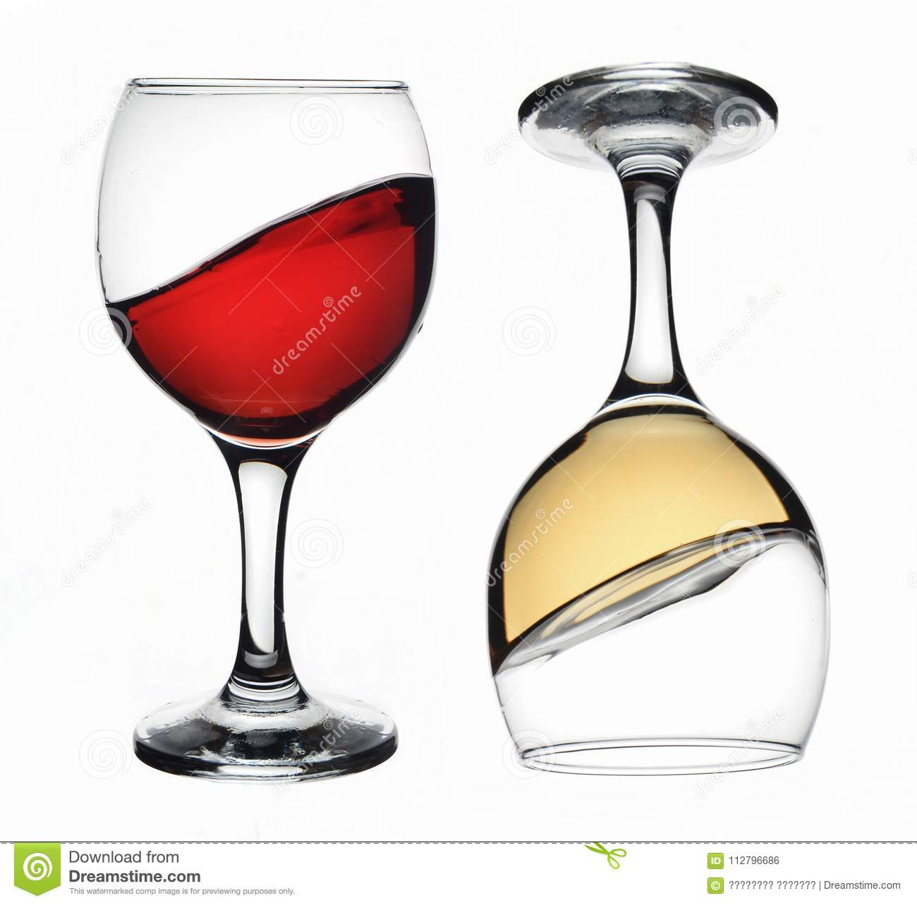 Red and white wine glass
