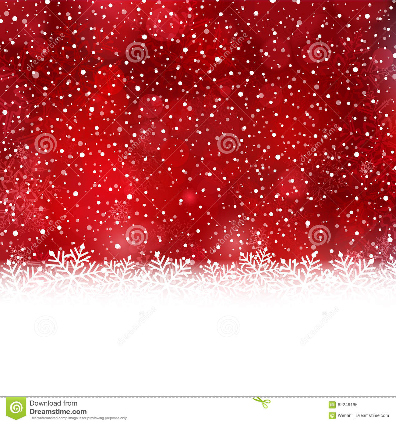 Red White Winter Christmas Background With Snow Flake