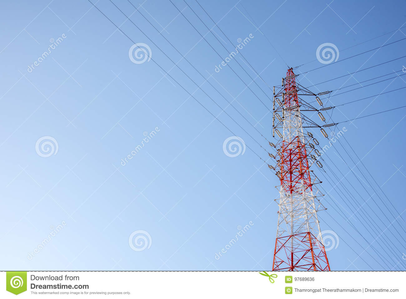 Red And White Wired Electric Cable Telecom Post With Blue Sky ...