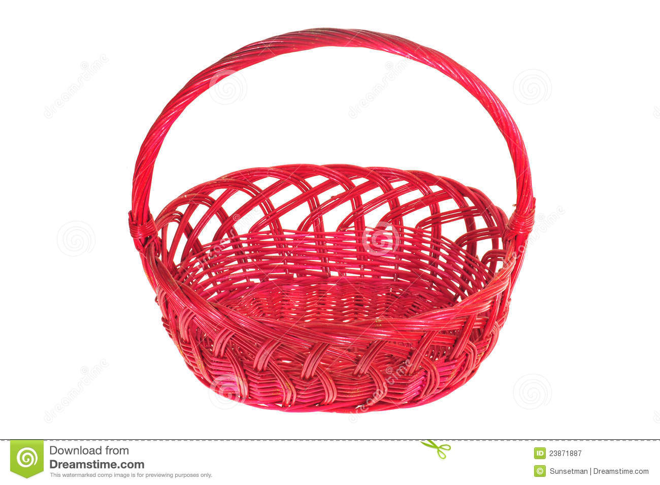 Panier En Osier Wicker : Red wicker basket with handle royalty free stock